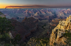 Smoke on the canyon (peakdan) Tags: landscape southrim grandcanyon nature fire forestfire dusk