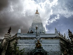 Wide View Mirror Temple in Rangoon, Burma with Rain Clouds threatening overhead