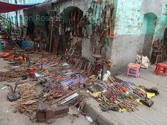 Tools for Sale on a Sidewalk and Wall in Downtown Rangoon, Burma
