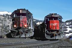 Hot Box (jamesbelmont) Tags: southernpacific crgvc kcoaf spanishforkcanyon detour millfork utah drgw riogrande emd sd40m2 mpi ge b408 automobiles ore train railroad railway locomotive