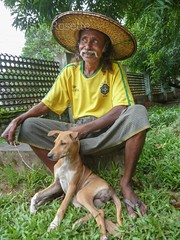 Gardener with His Dog, Yangon, Myanmar
