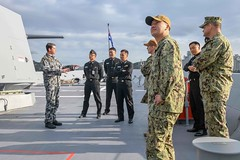 "Royal Australian Navy Lt. Verheul guides U.S.,Republic of Korea sailors during a tour of the HMAS Hobart (#PACOM) Tags: busan commander republicofkorea navalforceskoreacnfkcomrelbfsbusanforeignschoolope navalforceskoreacnfkcomrelbfsbusanforeignschooloperationsweettreatreadingchildrenholiday ""usindopacificcommand usindopacom"""