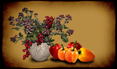 Lovely Autumn (SØS'Art) Tags: autumn color digitalartwork art kunstnerisk manipulation solveigøsterøschrøder artistic filterforge fruit photomanipulation photoshop vegetables 100views nature 300views