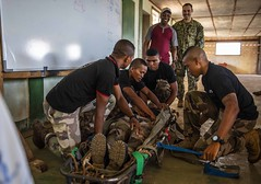 Madagasy marines practice stretcher bearer techniques during exercise Cutlass Express (CE) 19.2.