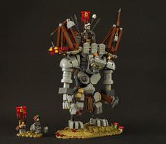 Siege Giant (Tino Poutiainen) Tags: lego legomoc legobuild legography medieval castle bionicle character fantasy giant siege weapon diorama moc minifigure knight trebuchet creature creation contest bionicastle bionicastlecontest