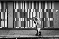 Downpour (Leanne Boulton) Tags: urban street candid streetphotography candidstreetphotography streetlife man male old elderly walking umbrella rain raining wet weather graphic window display juxtaposition lines geometry tone texture detail depth naturallight outdoor light shade city scene human life living humanity society culture lifestyle people canon canon5dmkiii ef2470mmf28liiusm black white blackwhite bw mono blackandwhite monochrome glasgow scotland uk