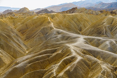 Zabriskie Point, Death Valley National Park, California. Golden Canyon aerial view. (Hanna Tor) Tags: california zabriskiepoint abstract america arid arizona badlands climate deathvalley desert destination drive dry goldencanyon highway hiking hill horizon hot landscape lonely loop mountains nationalpark nature nevada outdoor park places redcanyon roadtrip route sand scenery scenic sky southwest stone sun surface texture tour tourism travel trip usa valley view vista wilderness hannator