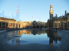 (Chris Hester) Tags: 6911p2 bradford centenary square water city park fountains reflections town hall lighting poles