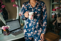 Girl in flower pajamas holding flower cup for good morning (shixart1985) Tags: athome beautiful beauty bedroom blue coffee concept cup cute female flower flowers girl glamour glasses goodmorning interior lifestyle macbook notebook one pajamas pastel person retina15 retro room vintage wake woman work worker young