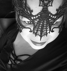 Five, Four, Five (Lizette617) Tags: masquerade woman aging beauty person blackandwhite mystery closeup mobilephonephotography