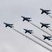 Japanese Air Self-Defense Force aerobatic team, Blue Impulse, leaves smoke-trails in sky during annual air show