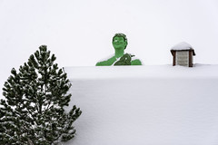 The Jolly Green Giant statue stands behind a shed at Green Giant Statue Park in Blue Earth, Minnesota (Lorie Shaull) Tags: blueearth minnesota snow greengiant jollygreengiant onlyinmn gianttimeinbe giantstatue greengiantstatuepark green giant statue park