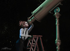 Star Gazer (Hildda.Deveaue) Tags: secondlife star gazer telescope steampunk ladder fashion redhair modeling posing gifts