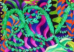 Watercolor Painting (Imara U.) Tags: aquarela art arte artista artist abstract watercolor artnouveau watercolors painting patterns pattern nature natureza estampa estampas design colorful colors color colorido cores cor curves creation creative curvas contemporaryart caneta circles work pintura