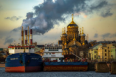 Vasilyevsky Island (rsvatox) Tags: saintpetersburg morning smoke river cathedral architecture cityscape boats buildings city pipes