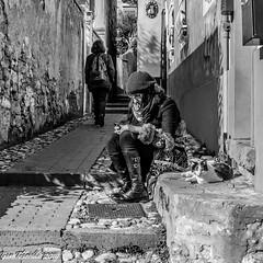 """""""... mentre lei si guarda i pollici, io mi godo questo bel sole"""" (Gian Floridia) Tags: bn bw bienne caruggio passeggiata paziente pazienza ragazza relax saggezza saggio smartphone sole sosta stradina streetphotography streetportrait tranquilla sestrilevante gatto tranquillo"""