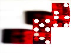 "Casino Dice...Reflection (Jack Blackstone) Tags: ""macromondays"" 2019 em1mkii macro reflection dice lighting shadows red white highkey"