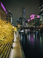 Illumination (ancientlives) Tags: chicago chicagoriver illinois il usa river riverwalk night lights downtown loop merchandisemart towers skyline skyscrapers city cityscape walking streetphotography architecture buildings thursday november 2019 autumn