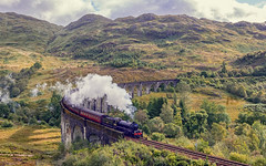 Il treno di Harry Potter (Fil.ippo) Tags: filippobianchi filippo harrypotter train treno railway ferrovia glenfinnan viaduct viadotto landscape panorama paesaggio mountains sky clouds shadow fuji xt2 smoke locomotiva locomotive engine
