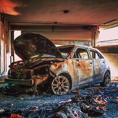 IMG_1190234 (Kathi Huidobro) Tags: arson inferno vandalism urbandecay autumnal autumn reportage streetphotography burnt carpark parking noparking londonlife urban urbanscene londonstreets london car abandoned burntout