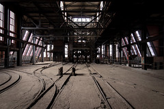Tracks for head frame (ForgottenBuildings) Tags: abandoned abandon abandonné abandonnée abbandonato abbandonata ancien ancienne alone architecture zuiko explorationurbaine em1 exploration explore exploring empty explo explored distillery trespassing rust rusty ruins rotten urbex urban urbain urbaine urbanexploration interdit interior inside inexplore olympus omd old past photography decay decaying derelict dust decayed dusty forgotten forbidden lost light nobody neglected building verlassen creepy huge industrial factory ceiling people arch road sign tree sky charbonnage du b