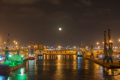 The moon shines over the Port of Ashdod at night (Peter.Stokes) Tags: awayfromitall boats colour colourphotography cruise cruise2019 history holiday israel jerusalem jetty landscape night nightpanorama ocean outdoors photo photography saltwater sea ship signs transport vacations water portofashdod ashdod