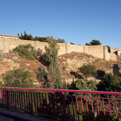 View of City Walls, Toledo (d.kevan) Tags: views slope trees plants grasses walls towers fromtouristtrain building architecturaldetails railings paths toledo citywalls stones