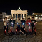 BC guys on scooters in Berlin (l to r) Gerrit van Soest, Asher Jordan, Marcus Athans, Dylan Timm, Tait Jordan, Heiko Ihns; (front) Nathan Romanin
