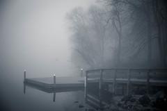 Fishing Dock (Joe_R) Tags: water fog lakeelkhorn columbia nature maryland unitedstates blackandwhite monochrome bw