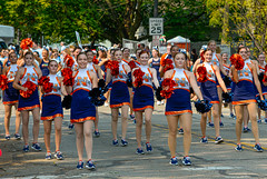 The Squad (risingthermals) Tags: united states america usa suburbs chicagoland il midwest parade cheer smile smiling happy woman women marching walking participants americans people cheerleaders