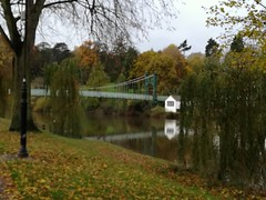A blurred footbridge (daveandlyn1) Tags: footbridge blurredimage thequarry autumnshades riversevern reflection water pralx1 p8lite2017 huaweip8 smartphone cameraphone