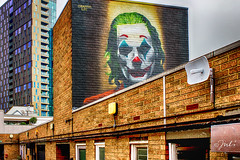 The Joker (JuliSonne) Tags: streetart urbanekunst mauer wall graffiti colors scene urban pasteup stencil street london shoreditch graffitilife thejoker clown makeup