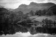 Loughrigg Tarn, before it rained (tonguedevil) Tags: landscape view outdoor outside countryside autumn nature lake tarn water reflections woodland fields mountains cumbria lakedistrict langdalepikes bw light shadows