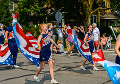Red, White & Blue (risingthermals) Tags: united states america usa suburbs chicagoland il midwest parade cheer smile smiling happy woman women marching walking participants americans people cheerleaders