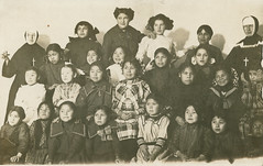 Coeur d'Alene Tribe Children at Sacred Heart Mission, circa 1910 - DeSmet, Idaho (Shook Photos) Tags: postcard postcards rppc realphotopostcard realphotopostcards sacredheartmission coeurdalenetribe indian nativeamerican indians nativeamericans reservation desmetidaho desmet idaho benewahcounty tribe tribal sister sisters children groupphotograph groupphoto catholic religion romancatholic