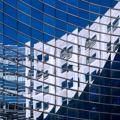 Blue reflections (gilles-B) Tags: glass window reflection line city estate modern office officebuilding contemporary architecture wall electricblue commercialbuilding outdoor pattern european building art exterior outdoors glassitems metropolis facade cityscape apartmentbuilding france perspective paris defense daytime blue urban skyscraper construction futuristic town parallel design sky business steel europe downtown skylight
