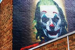 The Joker (Portrait) (JuliSonne) Tags: streetart urbanekunst mauer wall graffiti colors scene urban pasteup stencil street london shoreditch graffitilane joker clown makeup