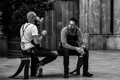 Cigarette break (Roi.C) Tags: monochrome black bw people outside outdoor candid ligh europe nikon d5300 nikkor photography photo digital shot street city human humans persons picture image camera interesting talking 18140mm man composition white portrait face sitting town urban blackandwhite 2017 may vienna cigarette smoking