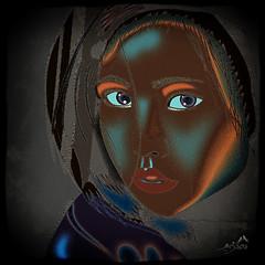 Eyes in the dark (SØS'Art) Tags: brown digiart digitalartwork art kunstnerisk manipulation solveigøsterøschrøder artistic eyes filterforge girl lips photomanipulation photoshop 100views 300views