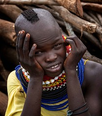 Turkana Tribe (Rod Waddington) Tags: africa african afrique afrika eastern uganda ugandan girl portrait wood child turkana tribe traditional tribal culture cultural beads ethnic ethnicity minority