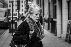 Silver Lining (Leanne Boulton) Tags: urban street candid portrait portraiture streetphotography candidstreetphotography candidportrait streetportrait eyecontact candideyecontact streetlife old woman lady face eyes expression mood emotion feeling fur furry coat style fashion elegance elegant tone texture detail depthoffield bokeh naturallight outdoor light shade city scene human life living humanity society culture lifestyle people canon canon5dmkiii 70mm ef2470mmf28liiusm black white blackwhite bw mono blackandwhite monochrome glasgow scotland uk