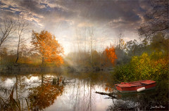 Red boat (Jean-Michel Priaux) Tags: paysage nature landscape colors autumn priaux reflect boat red tree trees forest sunst sunlight shadow water river wet paint painting fantasy poetry savage sky
