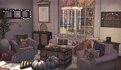 Yes, an autumnal living room (Rose Sternberg) Tags: deco decor home garden interior outdoor second life november 2019 exclusive for the liaison collaborative aphrodite shop heart homes magical fall set sofa chair chest table pumpkin rug sideboard windlight hearty cookies exclusives event refuge autumn platter pedestal bowl glass pumpkins candelesticks cosmo lighting gold apple frame madras hive grande pool balls areca palm plant quatrettocs blog blogger