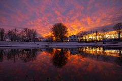 First Snow (Matt Champlin) Tags: friday tgif snow snowy november firstsnow sunset crazy beautiful home rural farm pond peaceful red amazing incredible life sun sky clouds canon 2019