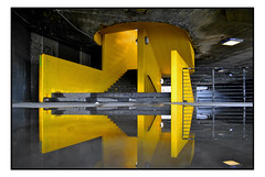 URBAN ARCHITECTURE. (StockCarPete) Tags: concrete southbank architecture yellow london uk puddle reflection puddledouble stairs