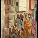 26c Мазаччо. Исцеление тенью Петра и Иоанна Капелла Бранкаччи 1427-28