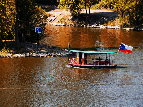 The small ferry on the Vltava river in Prague