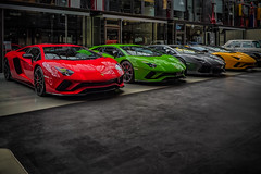 a LAMBORGHINI for every day at the week, monday red, tuesday green... (Peters HDR hobby pictures) Tags: petershdrstudio hdr lamborghini car dreamcar supercar red green grey yellow sportwagen auto supersportwagen traumauto rot grün grau gelb