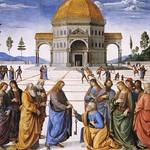 87 П.Перуджино. Христос вручает ключи Царства ап.Петру, 1482. Сикстинская капелла, Ватикан
