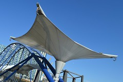 Clipper Sail (dhcomet) Tags: london pier ramp north greenwich roof transport o2 arena peninsula